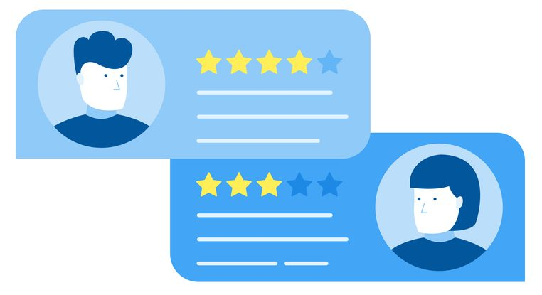 Customer review rating messages, online review or client testimonials, concept of experience or feedback, rating stars.